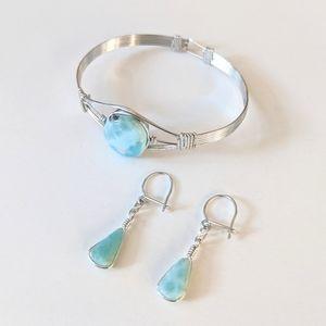 Jewelry - Silvertone Larimar Stone Bracelet And Earrings Set